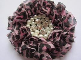 Luxe bloem met strass en parels tijger/panter roze