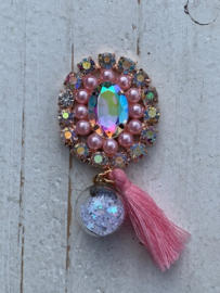Luxe rhinestone diamant meekleurend parels roze bol met sterretjes en kwastje