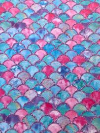 Zeemeermin staart patroon leer roze/blauw/hot pink