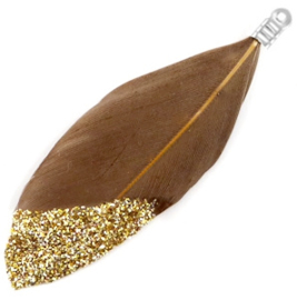 Veertjes dip-dye glitter beige bruin -goud