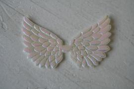 Vleugels  wit/roze glimmend