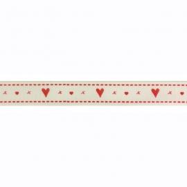 Sierband hartjes en x rood beige ondergrond