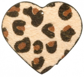 Hanger pu leer  hart harig met tijgerprint beige bruin