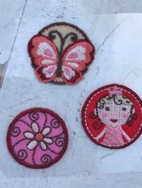3 applicaties op vlinder-prinses-bloem