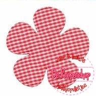 Geruite bloem 6,5cm rood