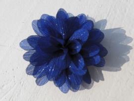 Glitter Bloem royal blue/cobalt blauw 7 cm