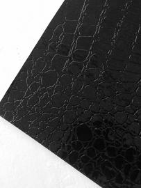 krokodillenprint leer zwart 20x22 cm
