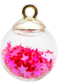 Bolletjes bedel/hanger sterretjes pink/red