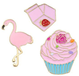 Broches/Pins pink cupcake