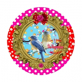 Flatback Birds fuchsia polkadot