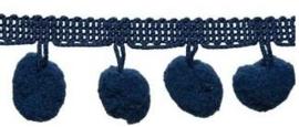 Pompomband Donkerblauw 2cm