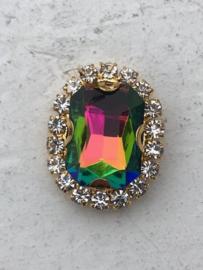 Flatback rhinestone  ovaal  luxe  regenboog