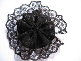 Kanten rozet/bloem zwart  6 cm