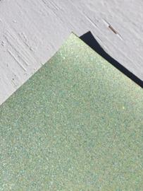 Glitter Leer Mint 20x30 cm