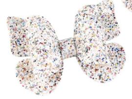 Vlinderstrik grof glitter multi color