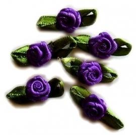 Roosjes met blad paars 2cm