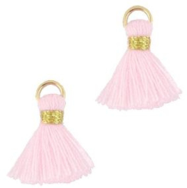 Kwastje Ibiza/bohemian  style 1.5cm Gold-pastel roze