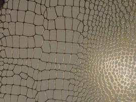 krokodillenprint leer met fijne goud lijntjes creme