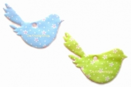 Vilten stoffen vogeltje blauw & madeliefjes