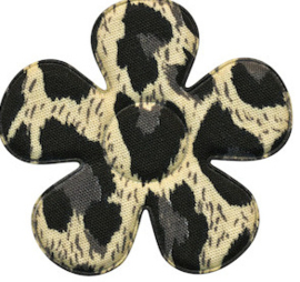 Applicatie bloem met panter/tijger print grijs/ivoor  4,5 cm