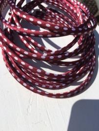 Diadeem satijn ruby wine/bordeaux polkadot 1cm