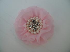 Luxe bloem met strass en parels licht roze