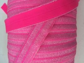 Elastisch haarband neon roze met zilver glitter 1.6cm