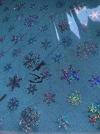 Leer doorzichtig/transparant blue glinster sneeuwvlok 20x30 cm