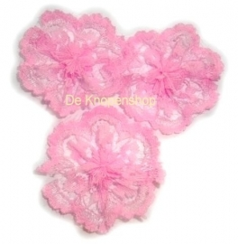 Kanten rozet/bloem  roze pst 5.5cm