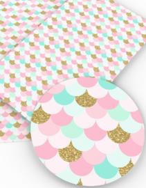 Zeemeermin staart patroon leer roze/mint
