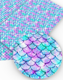 Zeemeermin staart patroon leer mint/blauw/roze