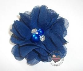 Bloem chiffon met parels & strass marine/donkerblauw