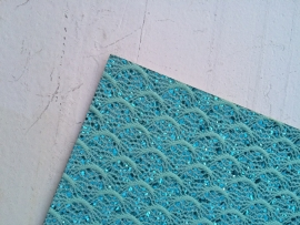 Leer kant turquoise 20x22 cm