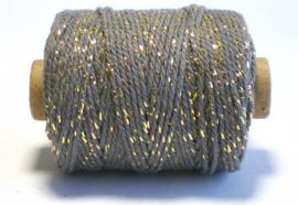 Cotton cord lurex donkergrijs/goud