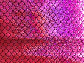 Zeemeermin staart patroon leer glitter neon roze/zwart 20x30cm
