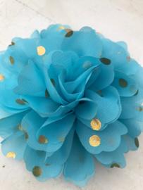 Bloemen chiffon 10 cm blauw polkadot goud