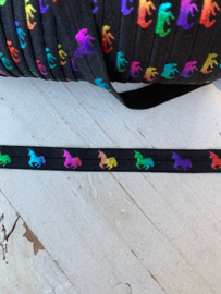 Elastisch band zwart rainbow hologram unicorn