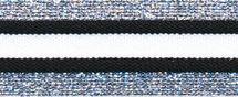 Elastisch band  gestreept zwart-wit met zilver glitter 3 cm