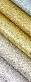 Glitter leer grof ruit motief goud/goud