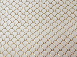 Zeemeermin staart patroon leer wit/goud