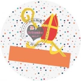 Flatback  mijter confetti oranje tekst/naambalk