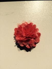 Stoffen satijn bloem met schijfje 5cm *coral* pst