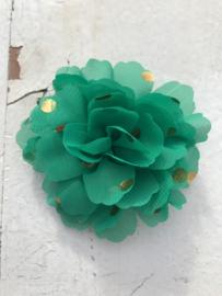 Bloemen chiffon 7 cm groen polkadot goud