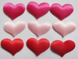 Hartje satijn Rood-Lichtroze-Hot pink