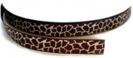 Tijger/panter band bruin/ivoor grosgrain 1cm