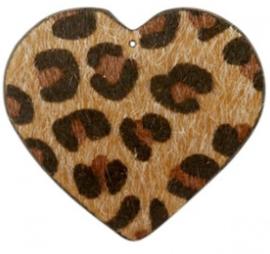 Hanger pu leer  hart harig met tijgerprint cognac bruin