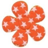 Bloem oranje met witte sterren 4,5 cm