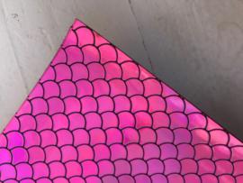 Zeemeermin staart patroon leer neon roze/zwart