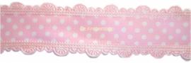 Stippenband met schulp randje baby roze