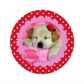 Flatback hondje & roosje polkadot rood (k652)